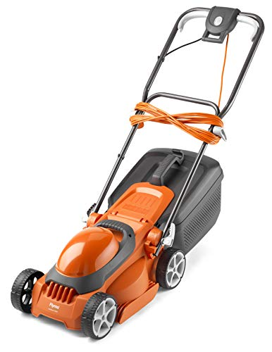 Flymo EasiStore 300R Electric Rotary Lawn Mower - 30 cm Cutting Width, 30 Litre Grass Box, Close Edge Cutting, Rear Roller, Manual Height Adjust, Space Saving Storage Features, Lightweight