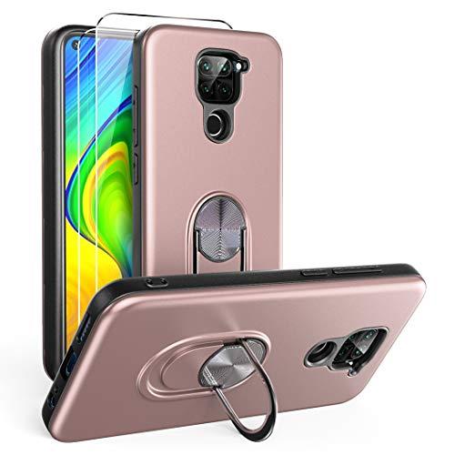 Oududianzi para Xiaomi Redmi Note 9 Funda y 2 Protectores de Pantalla de Vidrio Templado, TPU + PC Funda para teléfono con Soporte de Anillo a Prueba de Golpes para Xiaomi Redmi Note 9-Oro Rosa