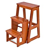 Costzon Folding Step Stool 3 Tier Wood Ladder, 3-in-1 Design with Ladder, Stool and Storage Shelf, Multifunction Pine Wood Foldable Ladder for Home, Library, 300lbs Capacity (Nut-Brown)