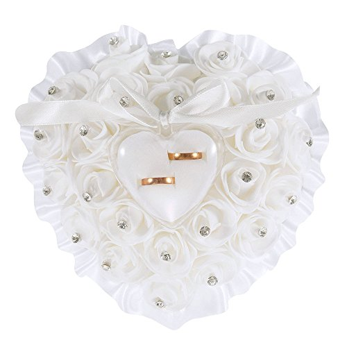 LONGBLE Heart Shape Wedding Ring Pillow White Elegant Rose and Rhinestone Decoration Ring Cushion Bearer Box Jewery Case with Ribbon Bowknot Ceremony Supplies Gift(W5)