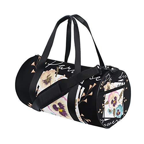 ZOMOY Sporttasche,Slogan Text Design Illustration Arton Black,Neue Druckzylinder Sporttasche Fitness Taschen Reisetasche Gepäck Leinwand Handtasche