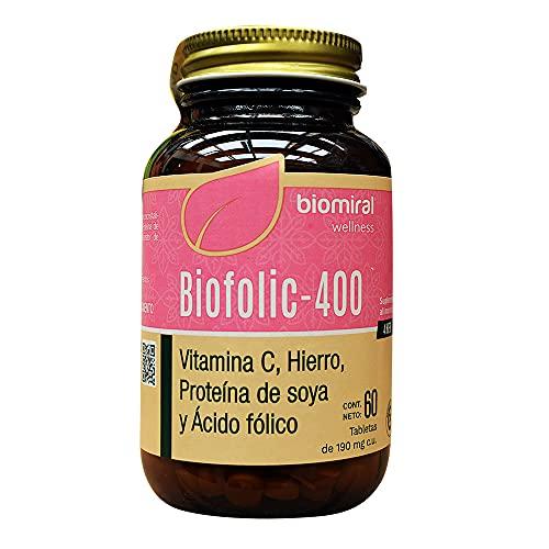 BioFolic-400 Ácido Fólico 60 Tabletas de 180mg. Biomiral