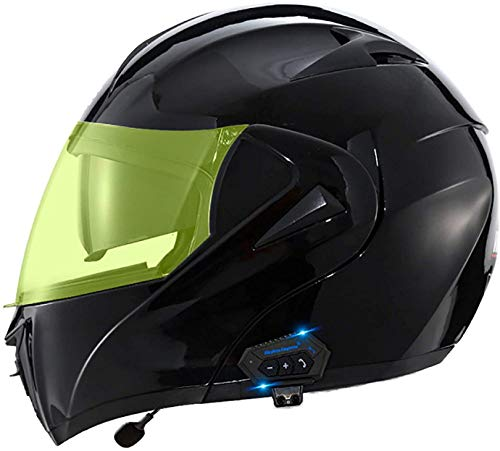 QDY Motorcycle Flip Up Helmet,Bluetooth Integrated Modular Flip Up Dual Visors Full Face Motorbike Helmets,Dot/ECE Approved Built-in Bluetooth Headset for Automatic Answering M,S=55~56cm