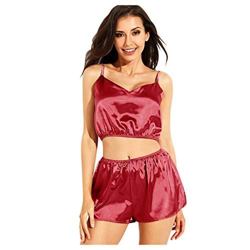 Xisimei Top da donna alla moda, in pura seta, 2 pezzi, con spalline e pantaloncini, Colore: rosso, XXXL
