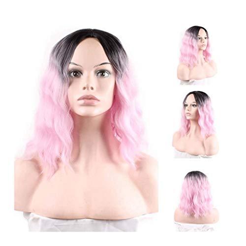 LYYCEU Fade To Black Short Hair Dyed Hot Corn Wig Rose Net Wig Real Hair Wig (Color : Black pink)