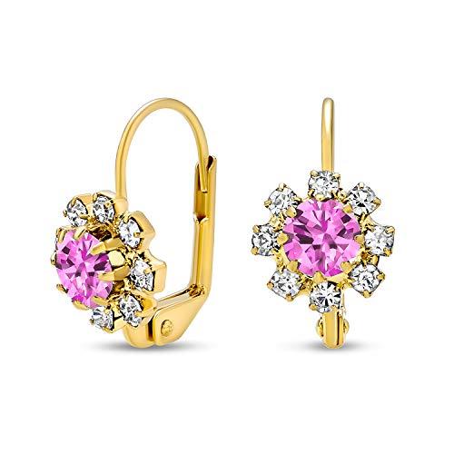 Delicado cristal floral 18K oro chapado latón Leverback gota flor pendientes para las mujeres adolescente más estilo de mes de nacimiento colores