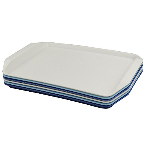 Fosly Bandejas de Plástico para Servir Comida Rápida, 6 paquetes, Bandeja Plastico Rectangular