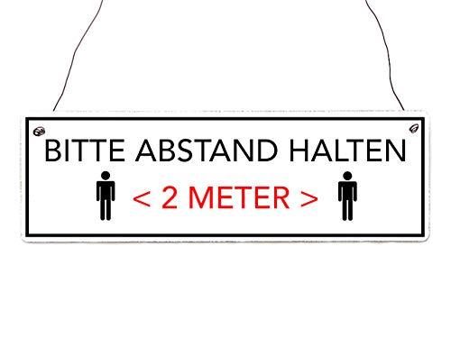 Interluxe houten bord - Houd afstand (lijst zwart) - bord met ophanging voor bedrijf, bedrijf, bedrijf, kantoor, praktijk