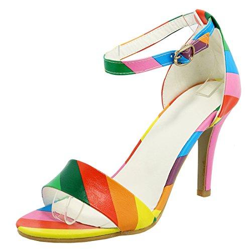 Agodor Damen Ankle Strap High Heels Sandalen Riemchenpumps mit Stiletto 9cm Absatz Sommer Offen Schuhe