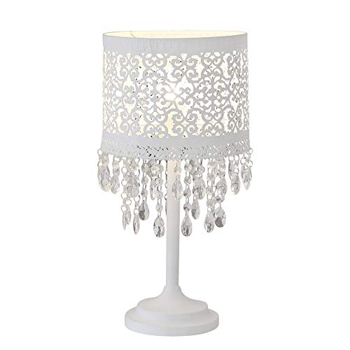 Tischlampe MARRAKECH 1b Ware weiß aus Metall mit orientalischem Muster und Kristallen