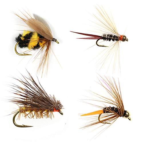 16 PCS/Box Fishing Flies Bee Flash Nymph Copper Bead Dry Files...