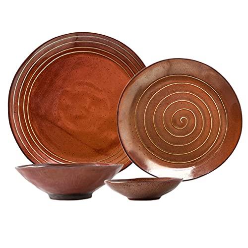 Platos de cena, juegos de cena Creativity Ceramics, juego de combinación de vajilla irregular de porcelana de 16 piezas  Juegos de cuencos de cereales y platos de carne de estilo japonés Thread Line