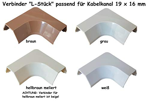 Verbinder Typ 'L' passend für Kabelkanal 15x10mm (Innenmaß), Farbe:Weiss