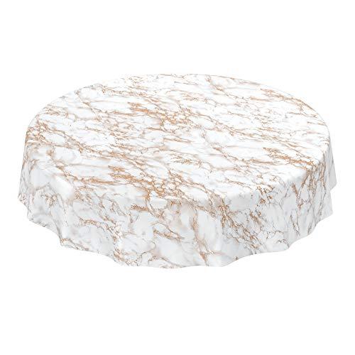 Anro - Tovaglia cerata lavabile, effetto marmo oro, elegante, rotonda, 140 cm