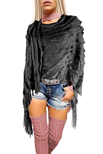 if she Damen Ponchos Strick Capes mit Fransen asymmetrisch zum über stülpen Einheitsgrößen, Farbe:Grau, Größe:Einheitsgröße