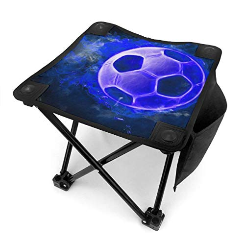 liang4268 Camping Hocker Portable Folding Camping Chair Blue Soccer Lightweight Collapsible Stool for Hiking Fishing Travelling Gardening Outdoor 12 Inch