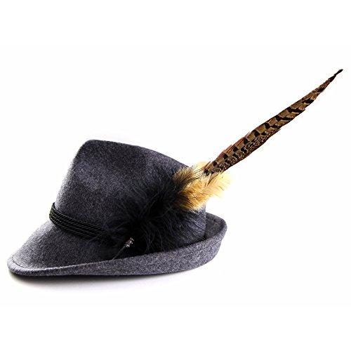 Almbock ALMBOCK Trachtenhut Damen mit Feder - Trachtenhüte in vielen Farben und den Größen S M L - Trachten Hut hergestellt aus Woll-Filz (S (54cm), Anthrazit - Modell H7)
