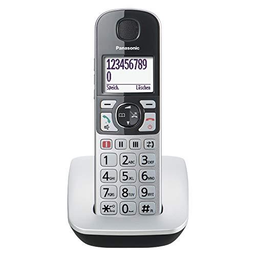 Panasonic KX-TGE510GS DECT Seniorentelefon mit Notruf (Großtastentelefon, schnurlos, extra Lautstärke, hörgerätekompatibel, Eco-Plus) silber-schwarz
