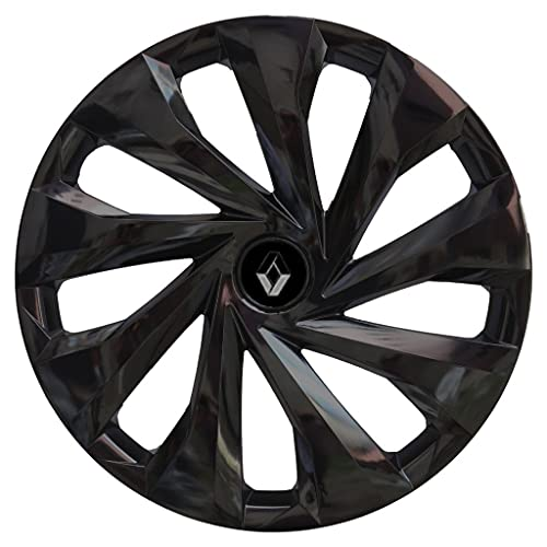 Cubierta central de rueda de coche Cubierta de la rueda de la rueda del automóvil R14 PIANO CAPULO BLACK HUB FLORTE COMPATIBLE CON RENAULT CLIO MEGANE 14 pulgadas 4pcs / set con emblema Tapas de cubo