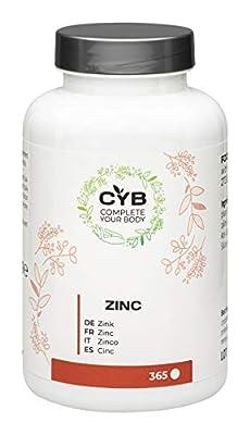 CYB Zinc - 25 mg pure, high-dose zinc, vegan daily supplement, 365 tablets