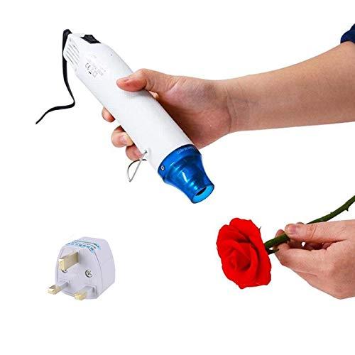 Handhållen varmluftspistol, ultralång kabel bärbar värmepistol för gör-det-själv krympförpackning, plast, tyg etc. Mini 300 W multifunktionellt elektriskt värmeverktyg med brittisk konverteringsadapter (vit)