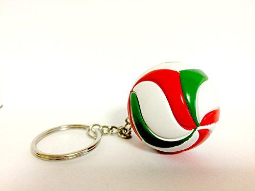 bkstuff Volley-Ball Porte-clés Balle Rouge Blanc Vert Gadgets Sportifs (1 Pièce)