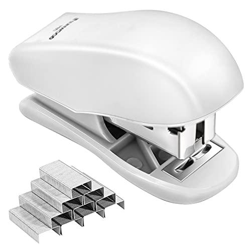 Mini Stapler with Staples, 25 Sheet Capacity, Office Desktop Stapler ,Small Stapler & 960 Standard Staples, Cute Compact Travel Size Stapler for Adults & Kids. (White)