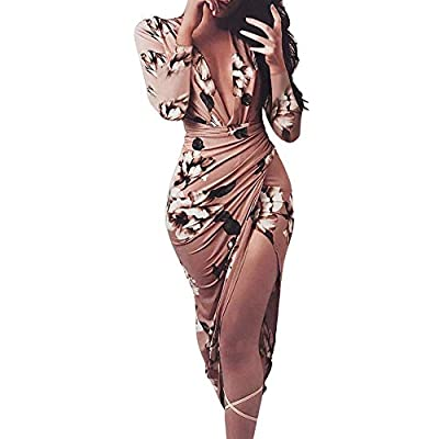 Xiarookp 2019 Fashion!Women's Floral Print Maxi Dress V Neck Sexy Lady High Waist Long Dress Coffee from Xiarookp