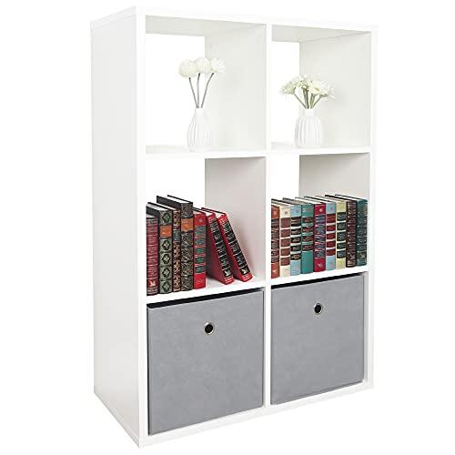 RICOO WM079-WM Estantería 107 x 73 x 33 cm Estante Librería Moderna Biblioteca Muebles de hogar Mueble almacenaje 3 Niveles Color Madera Blanco Mate