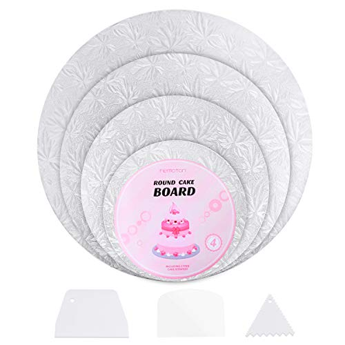 Hemoton 4er Set Wiederverwendbare Cake Board mit Folienverpackung und 3 Schaber für Kuchendekoration Hochzeit Geburtstagsparty Ø 15 + 20 + 25 + 30cm