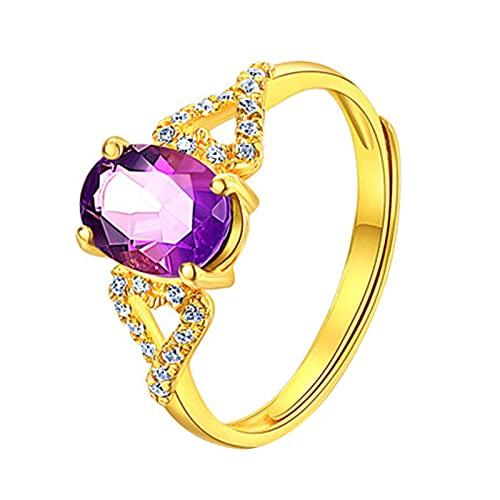 Xuefang Anillo de diamante morado chapado en oro rosa, elegante y hermoso, romántico y fresco