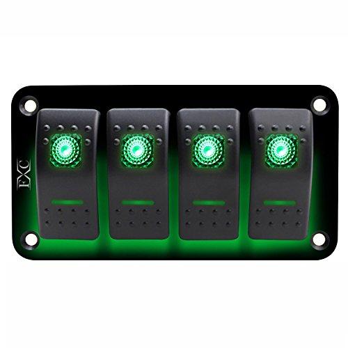 KANJJ-YU Eléctrico 12V-24V 4 Gang verde interruptor interruptor interruptor interruptor de circuito barco marino impermeable adaptador