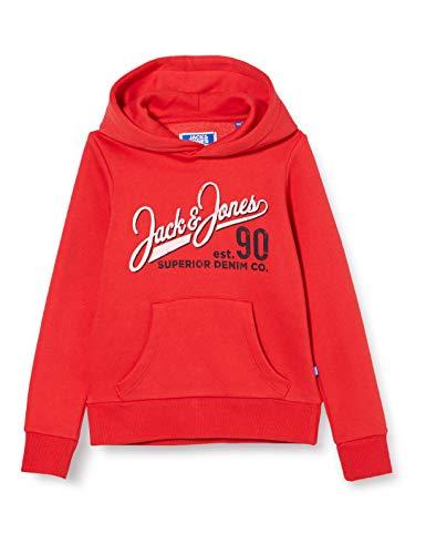 Jack & Jones Junior JJELOGO Sweat Hood 2 Col 20/21 Noos JR Sudadera con Capucha, True Red, 152 cm para Niños