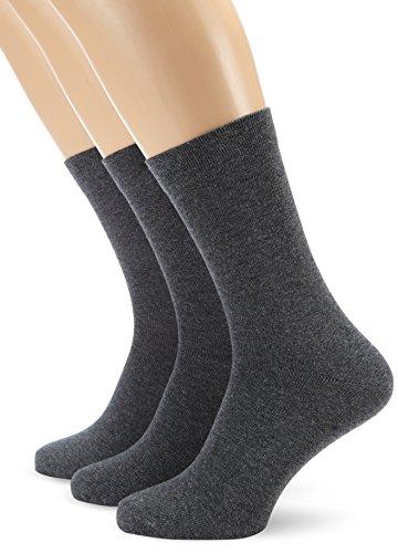 Nur Der Herren Socken 485501/Ohne Gummi 3er Pack, Gr. 43-46, grau (graumelange 346)