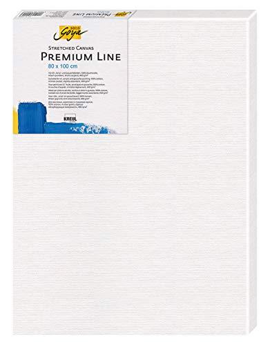 Kreul 5080100 - Solo Goya Stretched Canvas Premium Line, Keilrahmen 80 x 100 cm in Premiumqualität, Leinwand aus Baumwolle 4 fach grundiert, ideal für Öl-, Acryl- und Gouachefarben