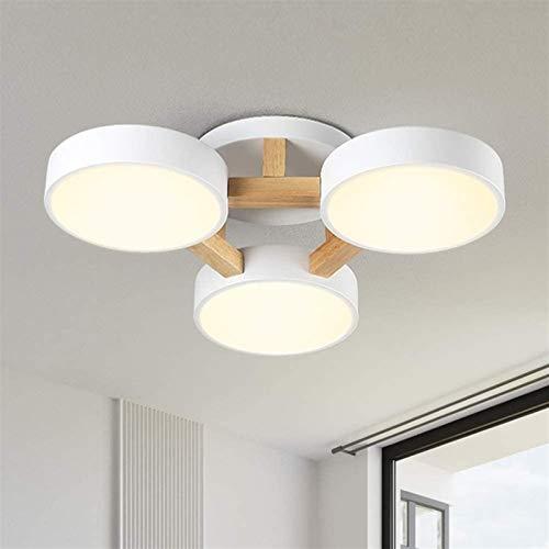 Luz De Techo LED, 36W Dimmable Madera Y Metal Sala De Estar Luz Moderna Luz De Techo Para Dormitorio Sala De Estar Niños Habitación Comedor Cocina  54 Cm (Color : White)