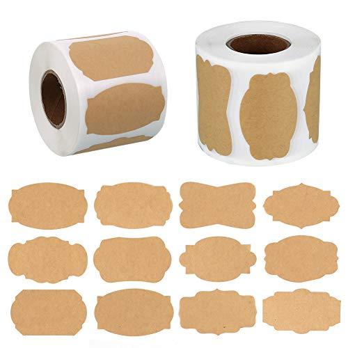 Firtink 1000 Stück Selbstklebend Kraftpapier Sticker Kraft Selbstgemacht Etiketten Sticker für Küche Marmeladengläser Backen Verpackung Basteln Geschenk