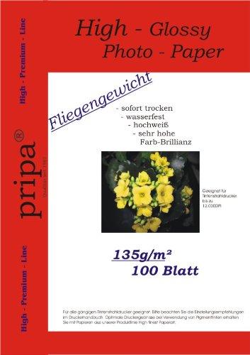 pripa 100 Blatt Fotopapier DIN A4, 135g /qm, high -Glossy hoch-glaenzend -sofort trocken - wasserfest - hochweiß - sehr hohe Farbbrillianz, Fuer Inkjet - Tintenstrahl - Drucker