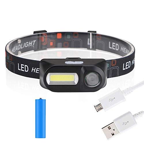 Starnearby hoofdlamp USB-zaklamp, draagbaar, hoofdlamp XPE/COB 300 lm met 6 verlichtingsmodi [instelbare hoofdband] lamp voor hardlopen camping