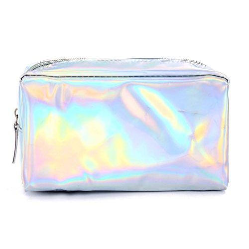 JAGENIE Fashion Holographic Federmäppchen Kosmetische Make-Up Tasche Lagerung Reißverschluss Geldbörse Tasche Silber