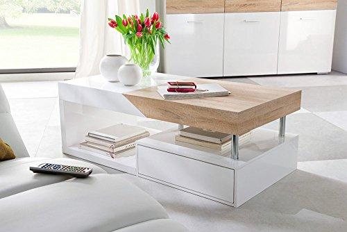 lifestyle4living Couchtisch in Weiß, Sonoma Eiche Dekor mit Schublade und Ablagefach | Schöner Wohnzimmertisch für gemütliche Wohnzimmer