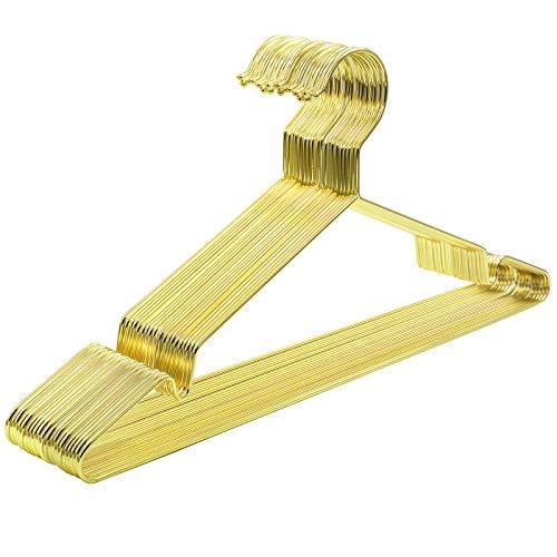 SONGMICS Kleiderbügel aus Metall, 20 Stück, stilvoll verchromt, rostbeständig, platzsparend, 42 cm lang, Gold CRI044G01