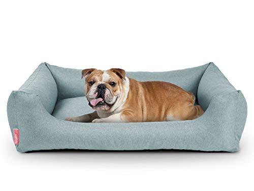 Hyggins Dreamer Pure Hundebett | Bezug abnehmbar und waschbar | Robust und pflegeleicht | Made in EU | in S, M, L, XL | in dunkelgrau, beigegrau, braun-anthrazit und eisblau (L 100 x 70cm, Eisblau)