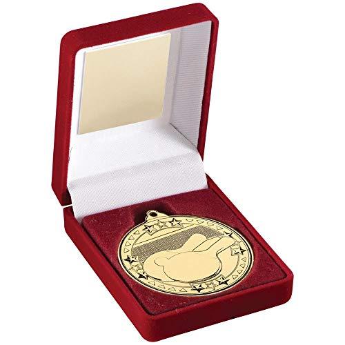 Lapal Dimension - Caja de Terciopelo Rojo y Trofeo de Tenis de Mesa con Medalla de 50 mm, Color Plateado