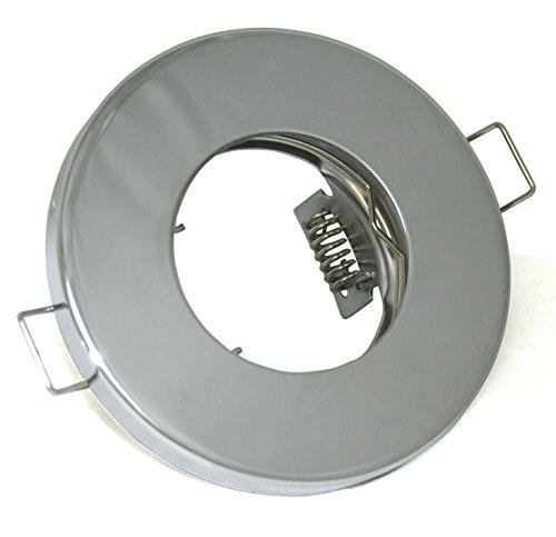 Einbaustrahler IP65 Optik: Chrom Bad | Dusche | Sauna | inkl. GU10 Fassung 230Volt + MR16 GU5.3 Fassung 12Volt | Einbauleuchten chrom lackiert - rostfrei