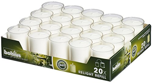 Bolsius Votive Candles  Set of 20 Restaurant and Relight Party Candle Holders Votive Candles in Clear Cup  Home Dcor Candles with Approx. 24 Hour Burning Time