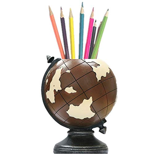 Globe Desk Pen Holder MUAMAX Pencil Cup Stand Brown Pen Organizer Vintage Pen Pot Kids/Men Home Office Decorations Unique Gifts