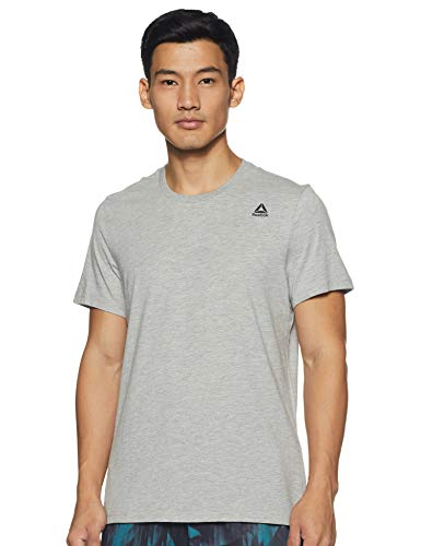 Reebok Men's Solid Regular fit T-Shirt (EC0563_Mgreyh M)