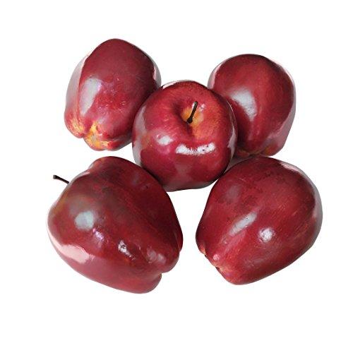 Lorigun Künstliche Äpfel gefälschte Früchte rote köstliche Äpfel für Dekoration, dekorative Frucht, Imitat große rote Äpfel 6 Stücke