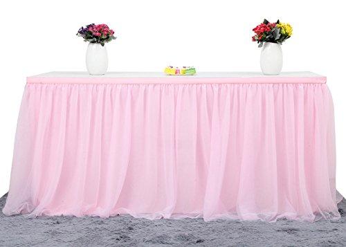 HBBMAGIC 3 Capas de Malla mullida Tabla de tutú Falda de vajilla de Tul para la Fiesta de Bodas de cumpleaños Decoración para el hogar (427cm x 76cm, Rosado)